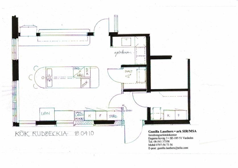 Detaljritning för storköket på entreplan